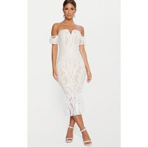 White Bardot Lace Frill Hem Midi Dress